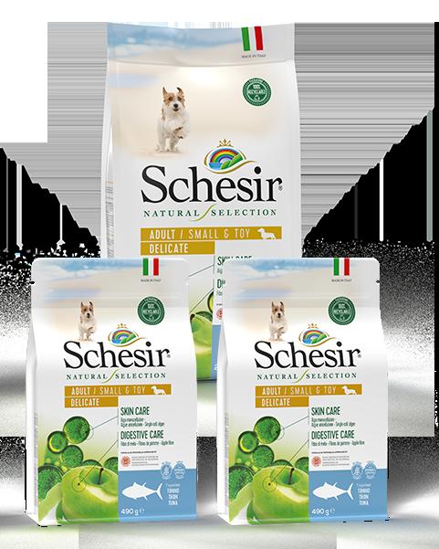 , Crocchette naturali per cani adulti – Small & Toy Adult Delicate Ricco in tonno sacco 2,24 kg + 2 x 490 g, Schesir - Alimenti Naturali Per Cani E Gatti